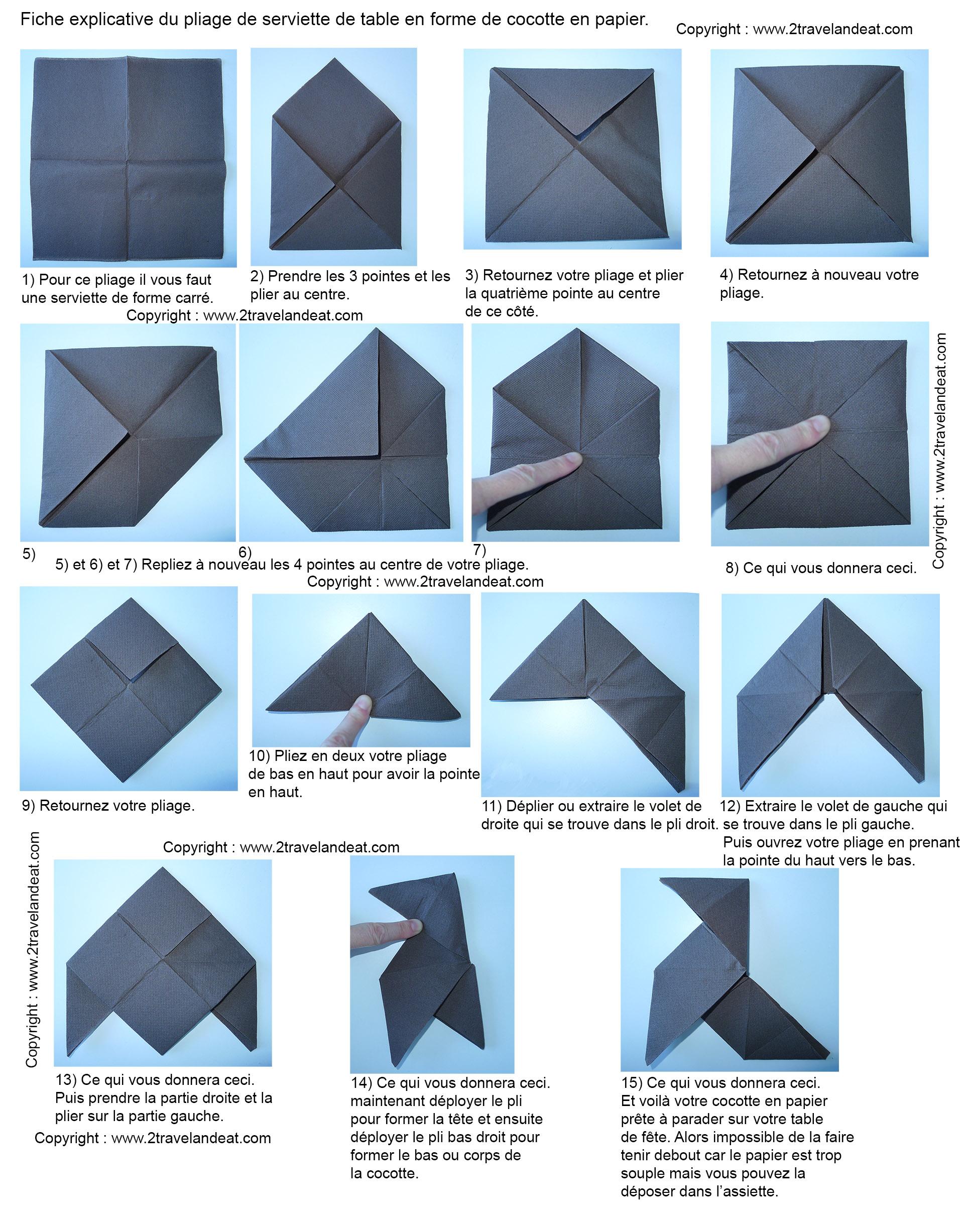 pliage de serviettes de table en papier pliage de papier. Black Bedroom Furniture Sets. Home Design Ideas
