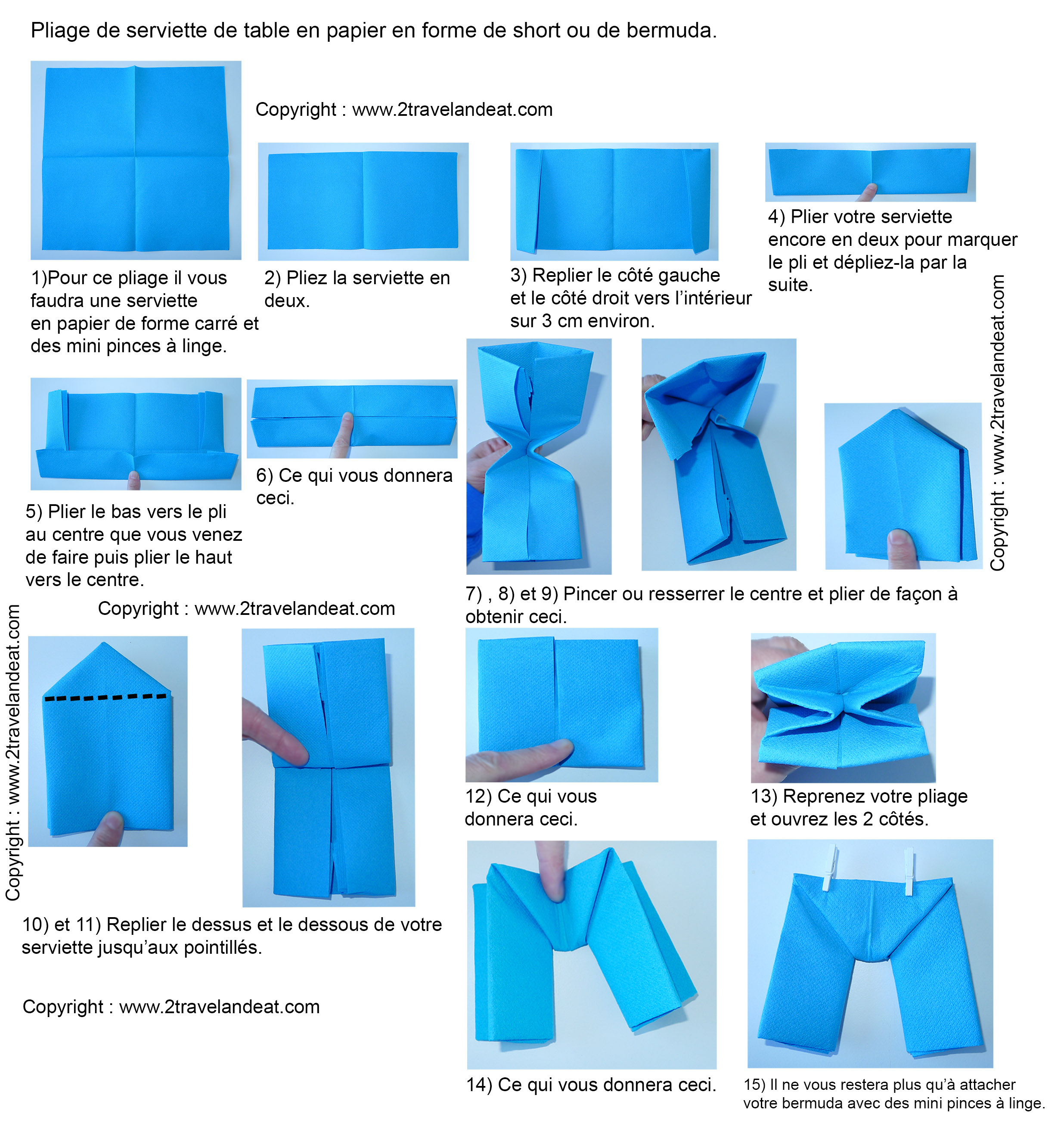 Pliage de serviettes de table en papier pliage de papier origami deocration de table plier - Modele de pliage de serviette facile ...